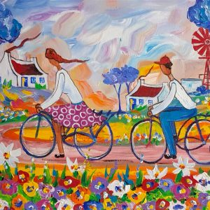 Girl and boy riding bike